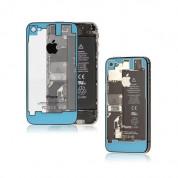iPhone 4 Backcover - резервен заден капак за iPhone 4 (светлосин-прозрачен)