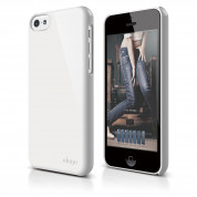 Elago C5 Slim Fit 2 Case + HD Clear Film - кейс и HD покритие за iPhone 5C (бял-лъскав)