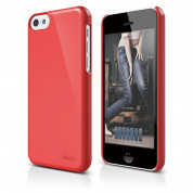 Elago C5 Slim Fit 2 Case + HD Clear Film - кейс и HD покритие за iPhone 5C (червен)