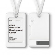 Elago iD1 USB ID Card Holder - държач за бадж с връзка за врата и слот за USB флаш памет (бял)
