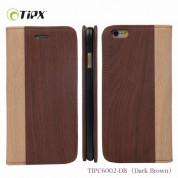 TIPX Rewood Case - кожен калъф, тип портфейл и поставка за iPhone 6, iPhone 6S (тъмнокафяв)
