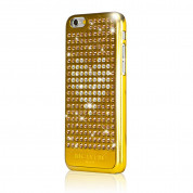 Bling My Thing Extravaganza Gold Heart Case - дизайнерски поликарбонатов кейс с кристали Сваровски за iPhone 6, iPhone 6S (златист) 1
