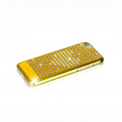 Bling My Thing Extravaganza Gold Heart Case - дизайнерски поликарбонатов кейс с кристали Сваровски за iPhone 6, iPhone 6S (златист) 2