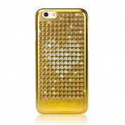 Bling My Thing Extravaganza Gold Heart Case - дизайнерски поликарбонатов кейс с кристали Сваровски за iPhone 6, iPhone 6S (златист)