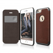 Elago S6 Leather Flip Apple Cut Case for iPhone 6, iPhone 6S + HD Professional Extreme Clear film included - [Limited Edition]