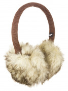 KitSound On-Ear Natural Fur Audio Earmuffs - ушанки с вградени слушалки с 3.5 мм аудио жак за iPhone и мобилни устройства (кафяв) 2