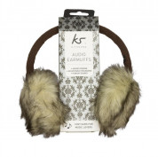KitSound On-Ear Natural Fur Audio Earmuffs - ушанки с вградени слушалки с 3.5 мм аудио жак за iPhone и мобилни устройства (кафяв) 3