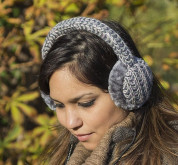 KitSound On-Ear Multi Lurex Knit Audio Earmuffs - ушанки с вградени слушалки с 3.5 мм аудио жак за iPhone и мобилни устройства (сив) 5