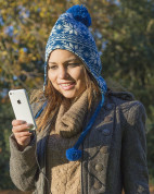 KitSound Audio Peruvian with Beanie with Fur Pom Pom Compatible with Smartphones, Tablets and MP3 Devices - blue 4
