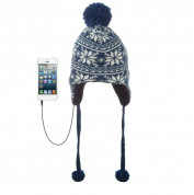 KitSound Audio Peruvian with Beanie with Fur Pom Pom Compatible with Smartphones, Tablets and MP3 Devices - blue 1