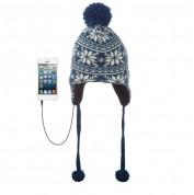 KitSound Audio Beanie Peruvian with Pom Pom - шапка с вградени слушалки с 3.5 мм аудио жак за iPhone и мобилни устройства (син) 1