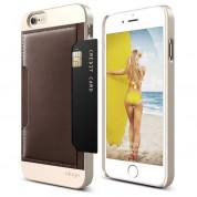 Elago S6 Outfit Leather Pocket Case - поликарбонатов кейс с кожено покритие и джоб за карта + HD покритие за iPhone 6, iPhone 6S (златист-кафяв)