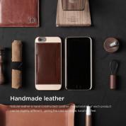 Elago S6 Outfit Leather Pocket Case - поликарбонатов кейс с кожено покритие и джоб за карта + HD покритие за iPhone 6, iPhone 6S (златист-кафяв) 5