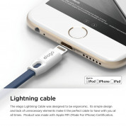 Elago Tangle-Free Lightning USB Cable - кабел за iPhone 6, iPhone 6S, iPad Air, iPad 5 (2017) и всеки Apple продукт с Lightning (бял-син) 4