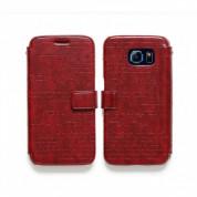 Zenus Masstige Lettering Diary Case - кожен калъф тип портфейл за Samsung Galaxy S6 (червен)