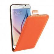 Leather Pocket Flip Case - вертикален кожен калъф с джоб за Samsung Galaxy S6 (оранжев)