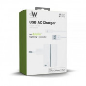 Just Wireless USB AC Charger - захранване за ел. мрежа с USB изход и Lightning кабел за iPhone, iPad и устройства с Lightning порт (бял) 1
