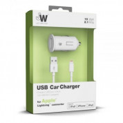Just Wireless Lightning 2.1A USB Car Charger - зарядно за кола с USB изход и Lightning кабел за iPhone, iPad и устройства с Lightning порт (бял) 1