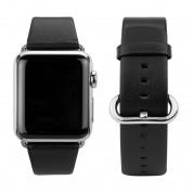 Caseual Leather Band - класическа кожена каишка от естествена кожа за Apple Watch 38мм, 40мм (черен)