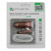 4Smarts MultiCord Car Charger Micro-USB + Lightning (rose gold) 3