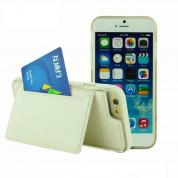 TIPX Ecoly Leather Case - кожен кейс с поставка и джоб за карта за iPhone 6S Plus, iPhone 6 Plus (бял)