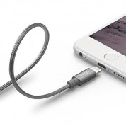 Elago Aluminum Lightning USB Cable - USB кабел за iPhone 6, iPhone 6 Plus, iPad, iPod и всеки Apple продукт с Lightning вход (тъмносив)