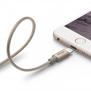 Elago Aluminum Lightning USB Cable - USB кабел за iPhone 6, iPhone 6 Plus, iPad, iPod и всеки Apple продукт с Lightning вход (златист)