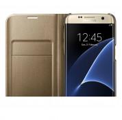 Samsung Flip Case Leather LED EF-NG930PFEGWW - оригинален кожен калъф през който виждате информация от дисплея за Samsung Galaxy S7 (златист) 3