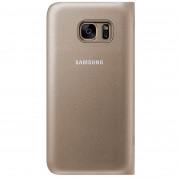 Samsung Flip Case Leather LED EF-NG930PFEGWW - оригинален кожен калъф през който виждате информация от дисплея за Samsung Galaxy S7 (златист) 1