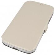 Wallet Flip Case - кожен калъф, тип портфейл и поставка за Samsung Galaxy Xcover 3 (бял)