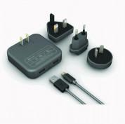 XtremeMac InCharge Home LT 4.2A - комплект захранване с 2 USB изхода, Lightning кабел и преходници за ел.мрежа за цял свят (черен)