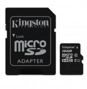 Kingston microSDHC Card 16GB - карта памет 16GB + SD преходник (клас 10)