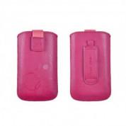 Telone Deko 1 Pouch Size 17 - вертикален кожен калъф, тип джоб с лента за издърпване за iPhone 6 Plus, iPhone 6S Plus, Samsung Galaxy Note 4 и други (розов)