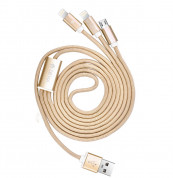 Devia Premium 3 in 1 Cable with 2xLightning and MicroUSB (gold) 3