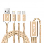 Devia Premium 3 in 1 Cable with 2xLightning and MicroUSB (gold) 6