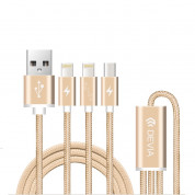 Devia Premium 3 in 1 Cable with 2xLightning and MicroUSB (gold)