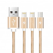 Devia Premium 3 in 1 Cable with 2xLightning and MicroUSB (gold) 5