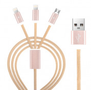 Devia Premium 3 in 1 Cable with 2xLightning and MicroUSB (rose gold)