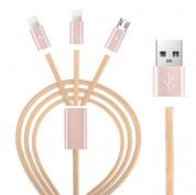 Devia Premium 3 in 1 Cable - универсален кабел с 2xLightning и MicroUSB конектори (розово злато)