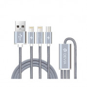 Devia Premium 3 in 1 Cable with 2xLightning and MicroUSB (gray)