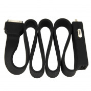 Tylt Car Charger for Apple 30-Pin - зарядно за кола с вграден кабел и USB изход за iPhone 4/4S, iPhone 3G/3GS, iPhone, iPad с док конектор