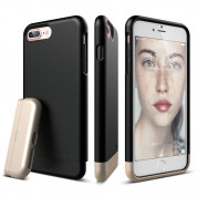 Elago S7 Glide Case + HD Clear Film - поликарбонатов кейс и HD покритие за iPhone 8 Plus, iPhone 7 Plus (черен-златист)