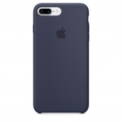 Apple Silicone Case - оригинален силиконов кейс за iPhone 8 Plus, iPhone 7 Plus (тъмносин)