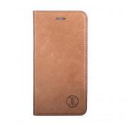 JT Berlin LeatherBook Magic Case - хоризонтален кожен (естествена кожа) калъф тип портфейл за iPhone 8, iPhone 7 (кафяв)