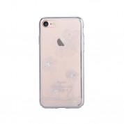 Comma Crystal Flora 360 Case - поликарбонатов кейс за iPhone 8, iPhone 7 (с кристали Сваровски) (сребрист)