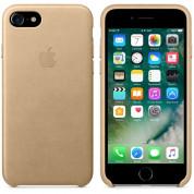 Apple iPhone Leather Case - оригинален кожен кейс (естествена кожа) за iPhone 8, iPhone 7 (светлокафяв) 4