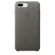 Apple iPhone Leather Case - оригинален кожен кейс (естествена кожа) за iPhone 8 Plus, iPhone 7 Plus (сив)