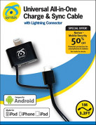 Symtek TekPower MFI Lightning and MicroUSB Cable - сертифициран кабел 2в1 за Apple и MicroUSB устройства  2