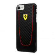 Ferrari Carbon Fiber Hard Case - дизайнерски карбонов кейс за iPhone 8, iPhone 7 (черен)