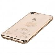 Devia Crystal Lotus Case - поликрабонатов кейс за iPhone 8, iPhone 7 (с кристали Сваровски) (златист) 2